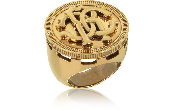Antique Goldtone Metal Large Logo Coin Ring - Roberto Cavalli