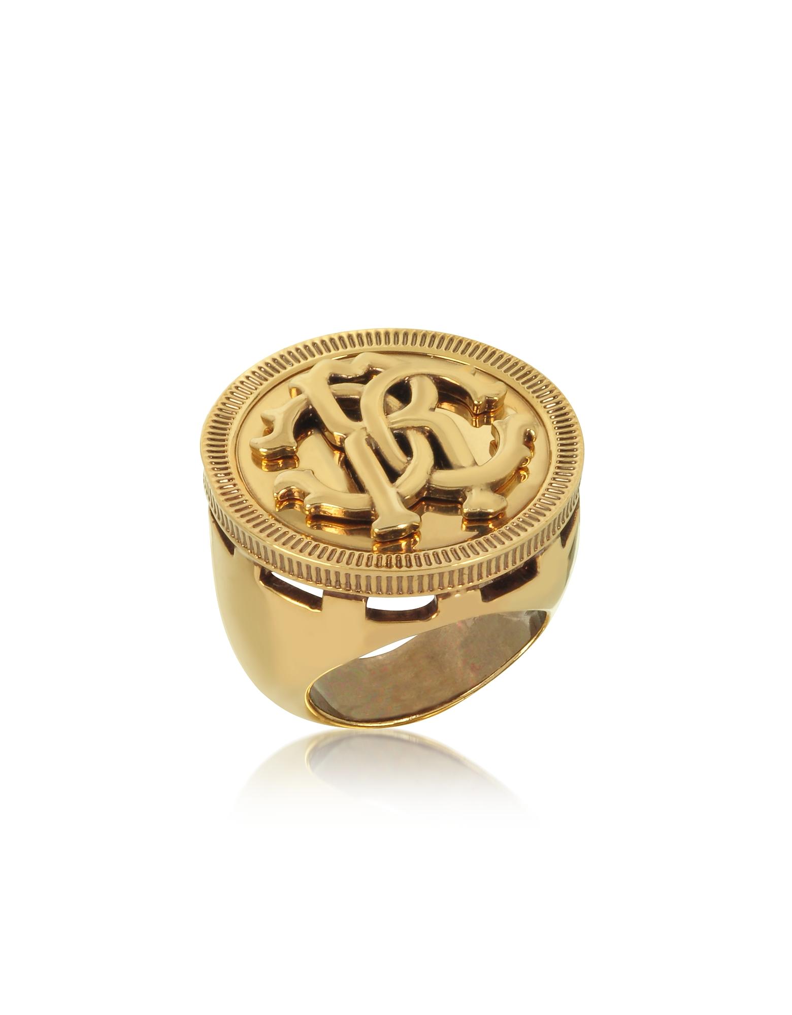 Roberto Cavalli ANTIQUE GOLDTONE METAL LARGE LOGO COIN RING