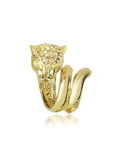 Panther Golden Metal Ring w/Crystals