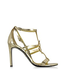 Mirror Gold Leather High Heel Sandal - Roberto Cavalli