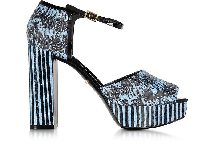 Claudia Powder Blue Elaphe Snakeskin Platform Sandal - Roberto Cavalli