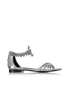 Laminated Silver Leather Flat Sandals - Roberto Cavalli