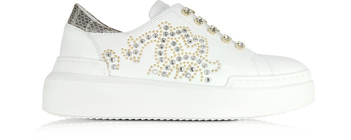 Pure White Leather and Crystals Slip on Sneakers - Roberto Cavalli