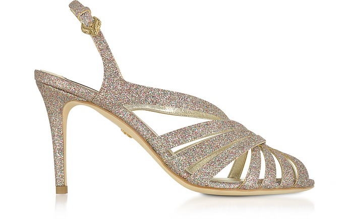 Multicolor Glitter Textured Canvas Sandals - Roberto Cavalli