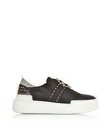 Black Signature Slip on Sneakers w/Studs - Roberto Cavalli