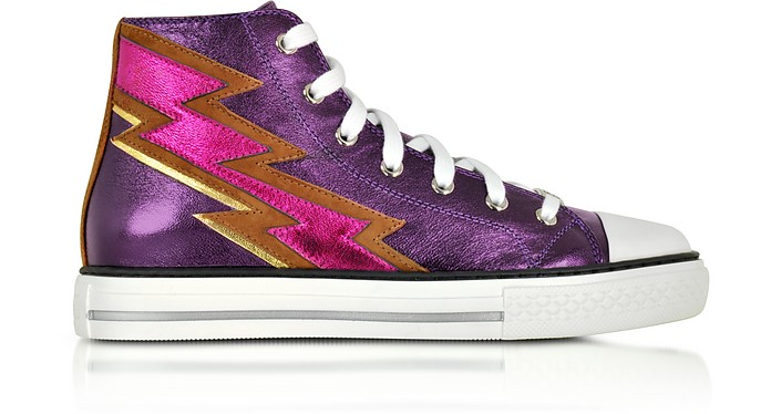Plum Metallic Nappa High Top Sneaker - Roberto Cavalli
