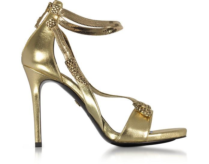 Golden Laminated Leather High Heel Snake Sandals - Roberto Cavalli