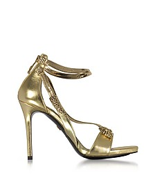 Golden Laminated Leather High Heel Snake Sandals - Roberto Cavalli