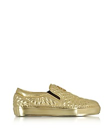 Laminated Nappa Star Quilted Leather Slip On Sneakers - Roberto Cavalli / ロベルト カヴァリ