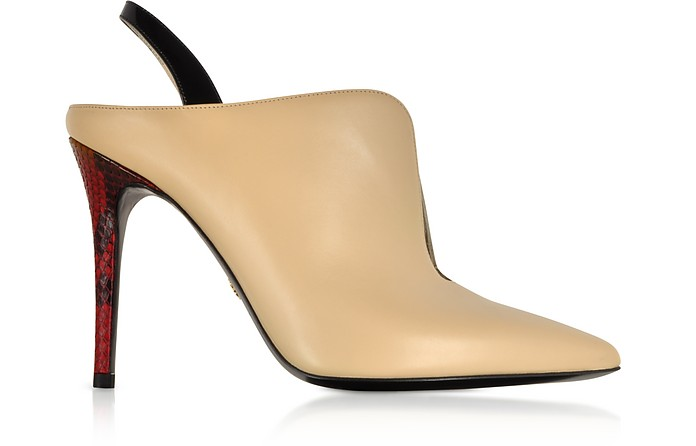 Nude and Black Patent Leather Slingback Pumps w/Red Python Heel - Roberto Cavalli / ロベルト カヴァリ