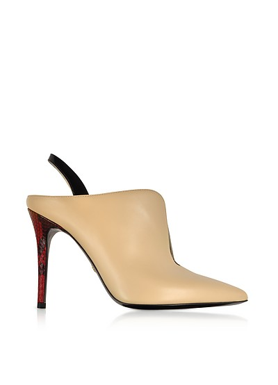 Nude and Black Patent Leather Slingback Pumps w/Red Python Heel - Roberto Cavalli
