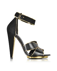 Angel Black Ayers Leather and Suede Sandal