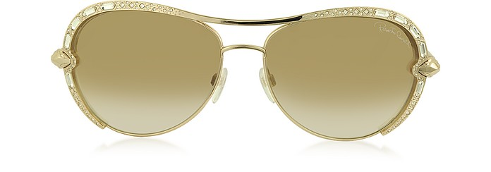 SUBRA 974S METAL SQUARE OVERSIZED WOMEN'S SUNGLASSES W/CRYSTALS