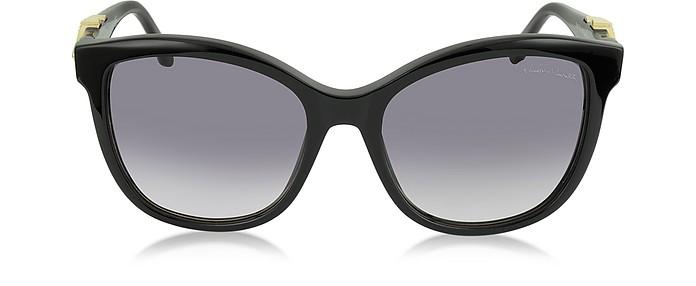 Kraz 877S 01B Black Acetate Cat Eye Sunglasses w/Goldtone Details - Roberto Cavalli / ロベルト カヴァリ