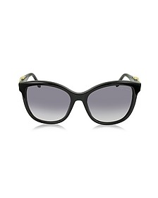 Kraz 877S 01B Black Acetate Cat Eye Sunglasses w/Goldtone Details - Roberto Cavalli