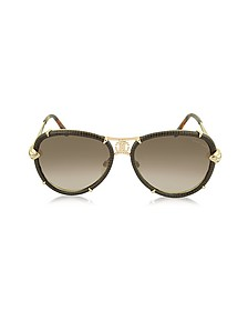 Mebsuta 885S Leather & Gold Metal Aviator Sunglasses