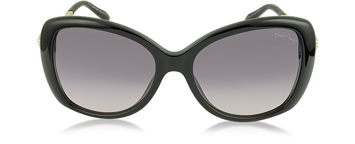 MIZAR 917S-A BLACK ACETATE WOMEN'S SUNGLASSES W/CRYSTALS