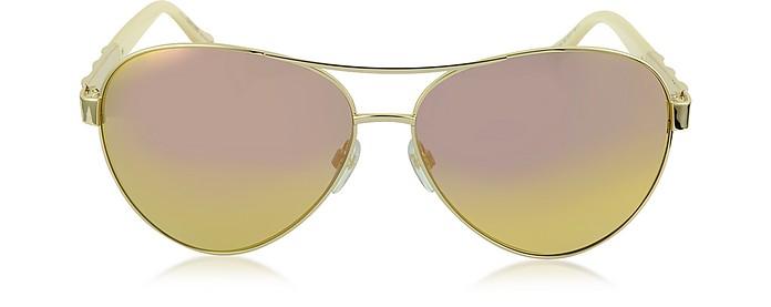 Merga 905S Gold Metal Aviator Sunglasses W/Crystals in Shiny Rose Gold / Yellow Mirror