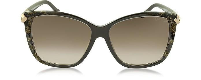 Menkent 902S 50G Brown Snake Print Cat Eye Sunglasses w/Goldtone Details - Roberto Cavalli