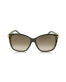 Menkent 902S 50G Brown Snake Print Cat Eye Sunglasses w/Goldtone Details - Roberto Cavalli