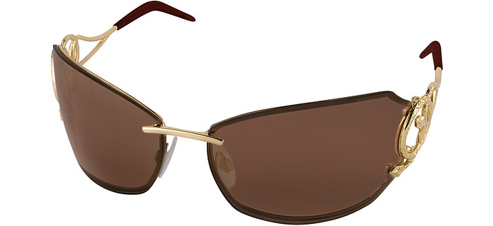 ba9a48fc3797 Roberto Cavalli Gold Brown Caos - Metal Serpent Sunglasses at FORZIERI