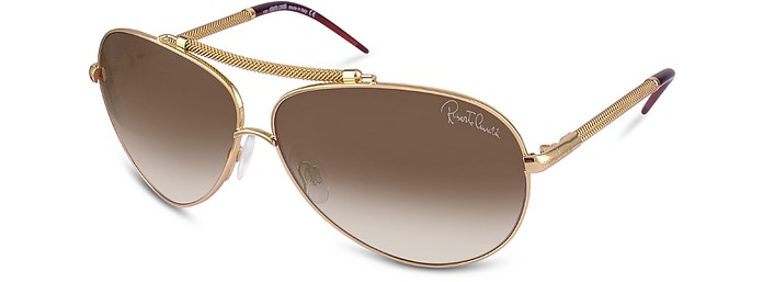 37958c3ef515 Roberto Cavalli Gold Brown Cercione - Signature Metal Aviator ...