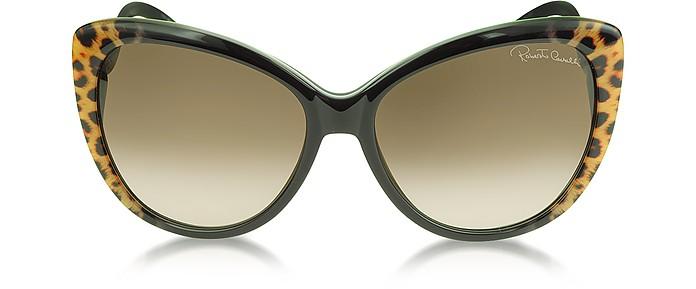 Women's 736S 05G Kurumba Brown Leopard & Black Sunglasses - Roberto Cavalli