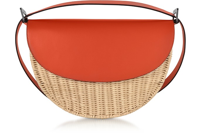 Woven Wicker and Leather Half-Moon Shoulder Bag - Rodo