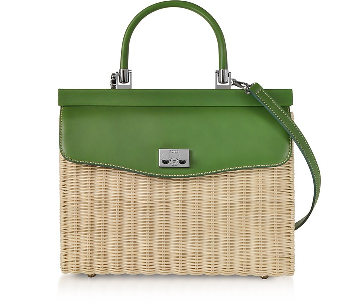 Whitewashed Wicker and Leather Top-Handle Bag - Rodo