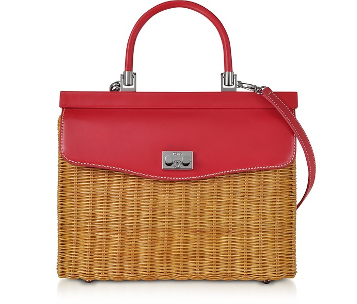 Natural Wicker and Leather Top-Handle Bag - Rodo