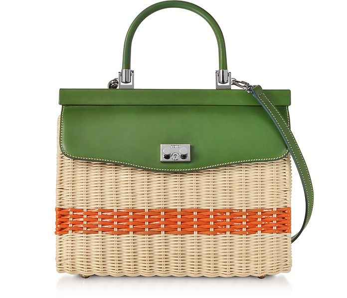 Woven Wicker and Leather Top-Handle Bag - Rodo