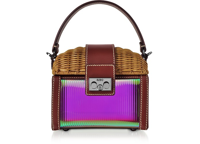 Natural Wicker and Leather Mini Bag - Rodo