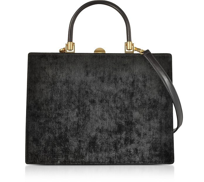 Black Fabric and Leather Squared Satchel Bag - Rodo