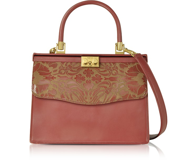 Laser Printed Leather Top Handle Satchel Bag - Rodo