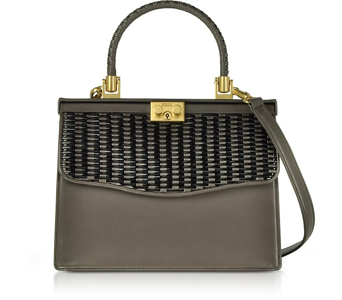 Taupe Woven Leather Top Handle Satchel Bag - Rodo