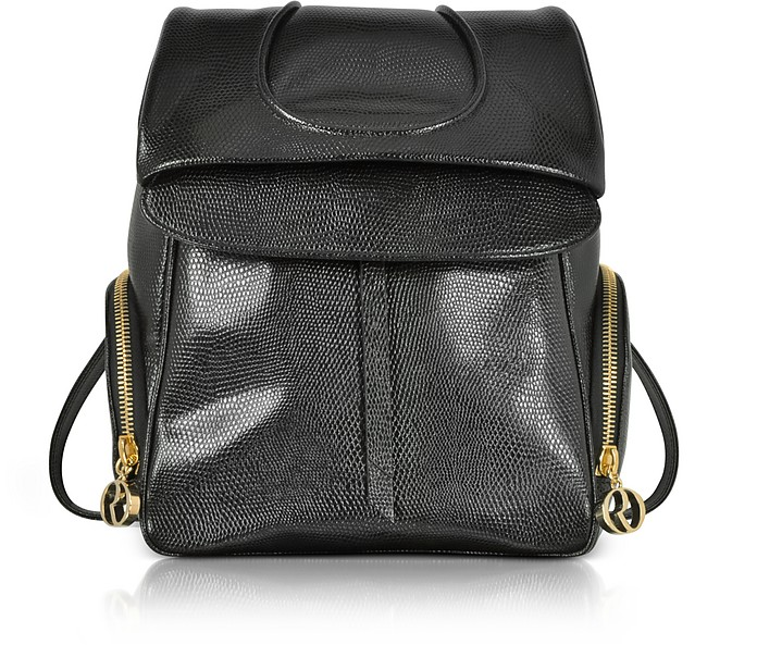 Black Lizard Embossed Leather Backpack - Rodo