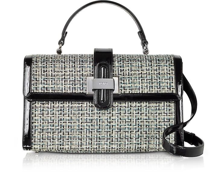 Handtasche aus Tweed und Lackleder mit Schulterriemen - Rodo