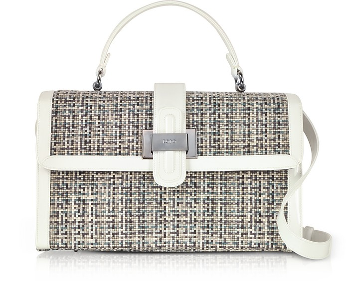 Tweed and Patent leather Top Handle Satchel Bag - Rodo