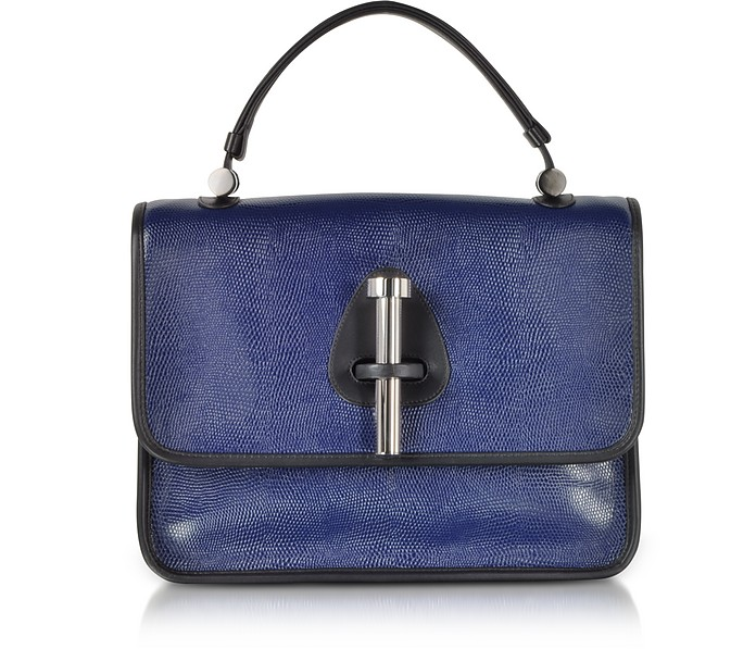 Ocean Blue Lizard Embossed Leather Satchel Bag - Rodo
