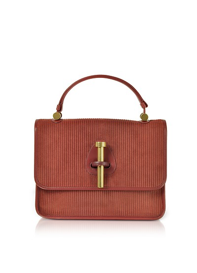 Striped Suede and Leather Satchel Bag - Rodo