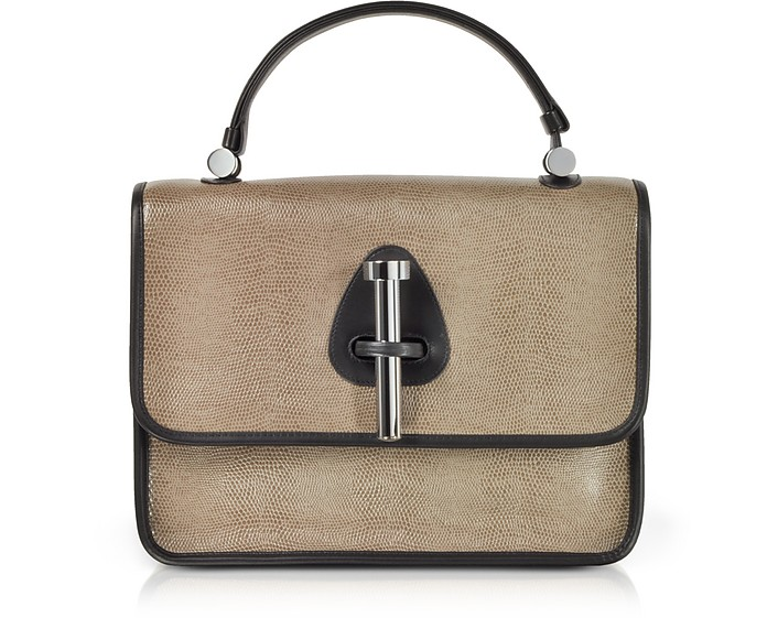 Taupe Lizard Embossed Leather Satchel Bag - Rodo