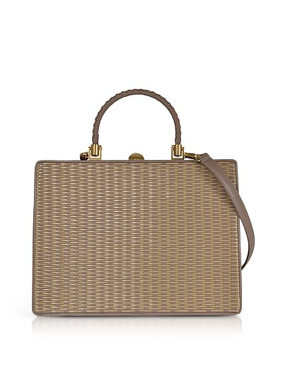 Taupe Woven Leather Squared Satchel Bag  - Rodo
