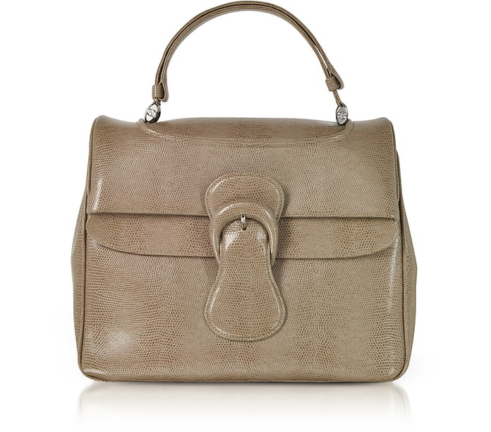 Lizard Embossed Leather Satchel Bag - Rodo