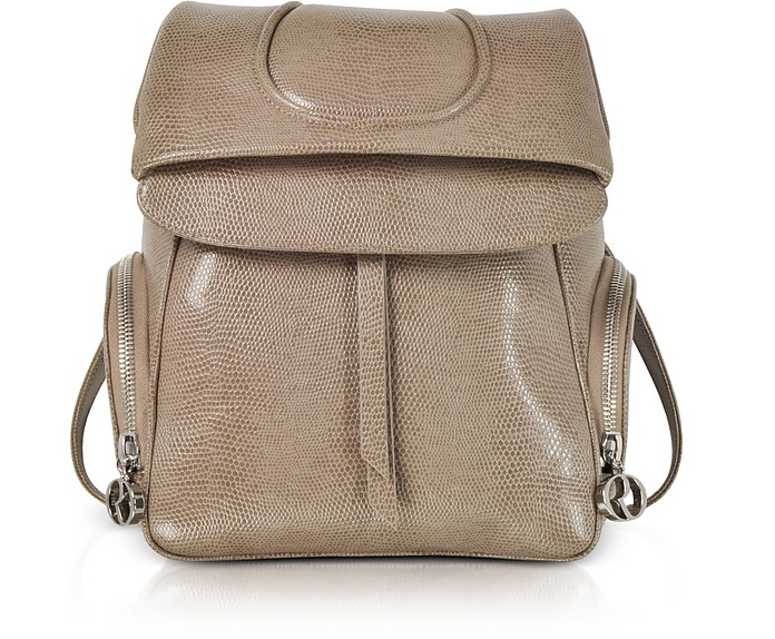Taupe Lizard Embossed Leather Backpack  - Rodo / ロド