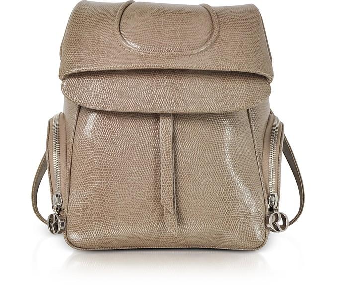 Серовато-коричневый Рюкзак из Кожи под Ящерицу - Rodo