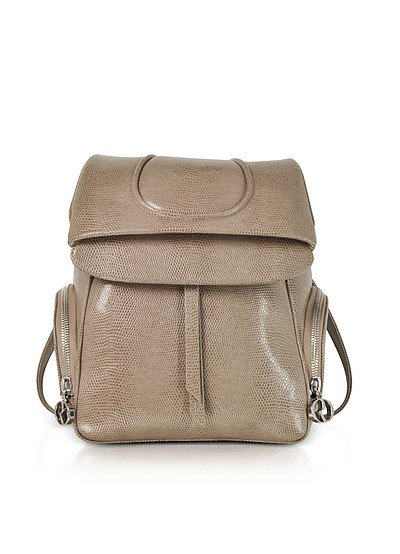 Taupe Lizard Embossed Leather Backpack  - Rodo