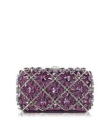 Purple Silk Tresor Clutch w/Crystals - Rodo