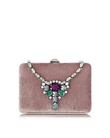 Antique Pink Velvet Collier Clutch w/Crystals - Rodo