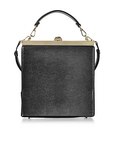 Black Lizard Embossed Leather and Suede Tote Bag - Rodo