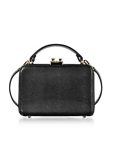 Black Lizard Printed Leather Boxy Top Handle Clutch - Rodo